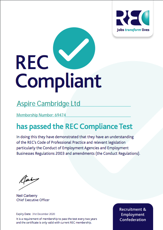 Aspire Cambridge successfully passed the REC Compliance Test!